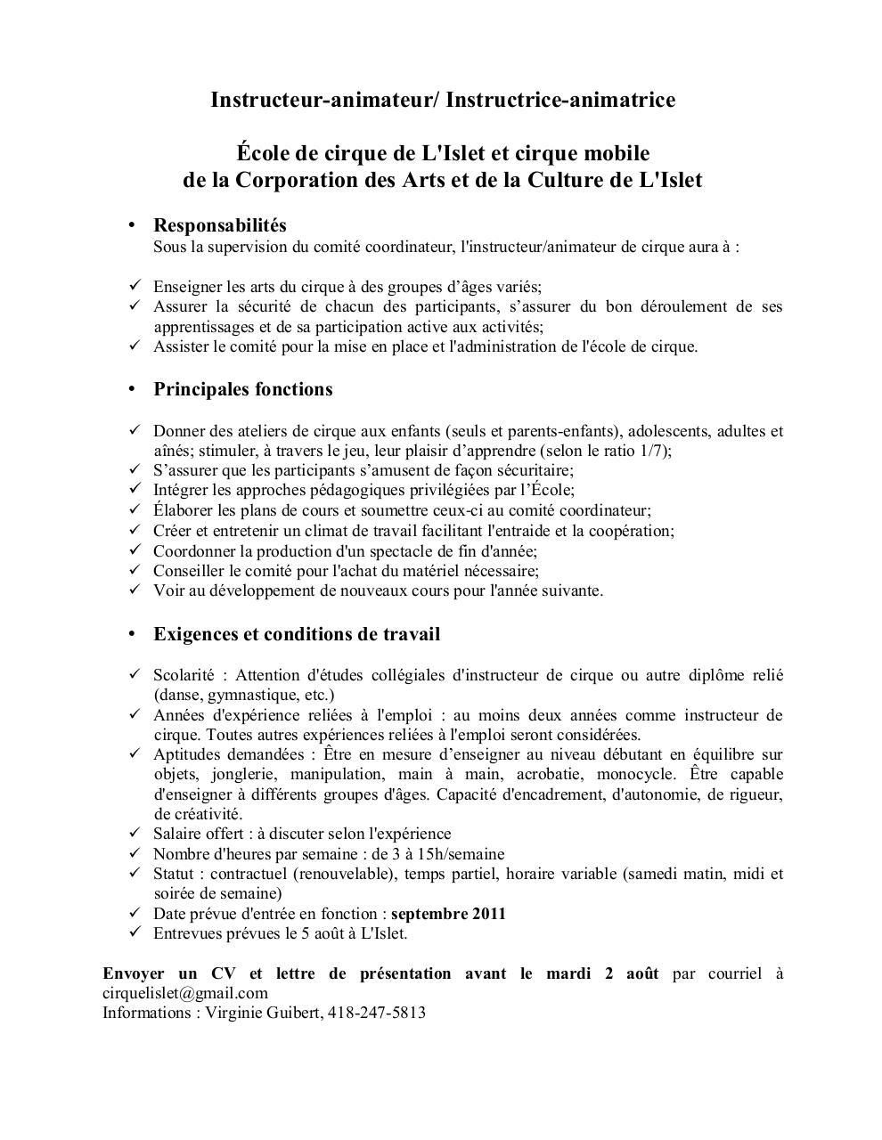 offre d u0026 39 emploi instructeur de cirque pdf par gui