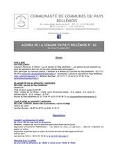 agenda de la semaine en pays bellemois n 82