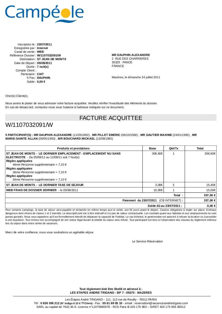 Modele facture camping document online for Reservation hotel france sans payer