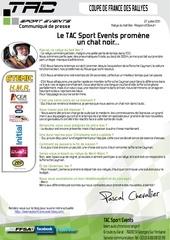 communique de presse tac sport events resultat rallye du kalt bec pascal chevallier christophe pigne porsche cayman s gt10