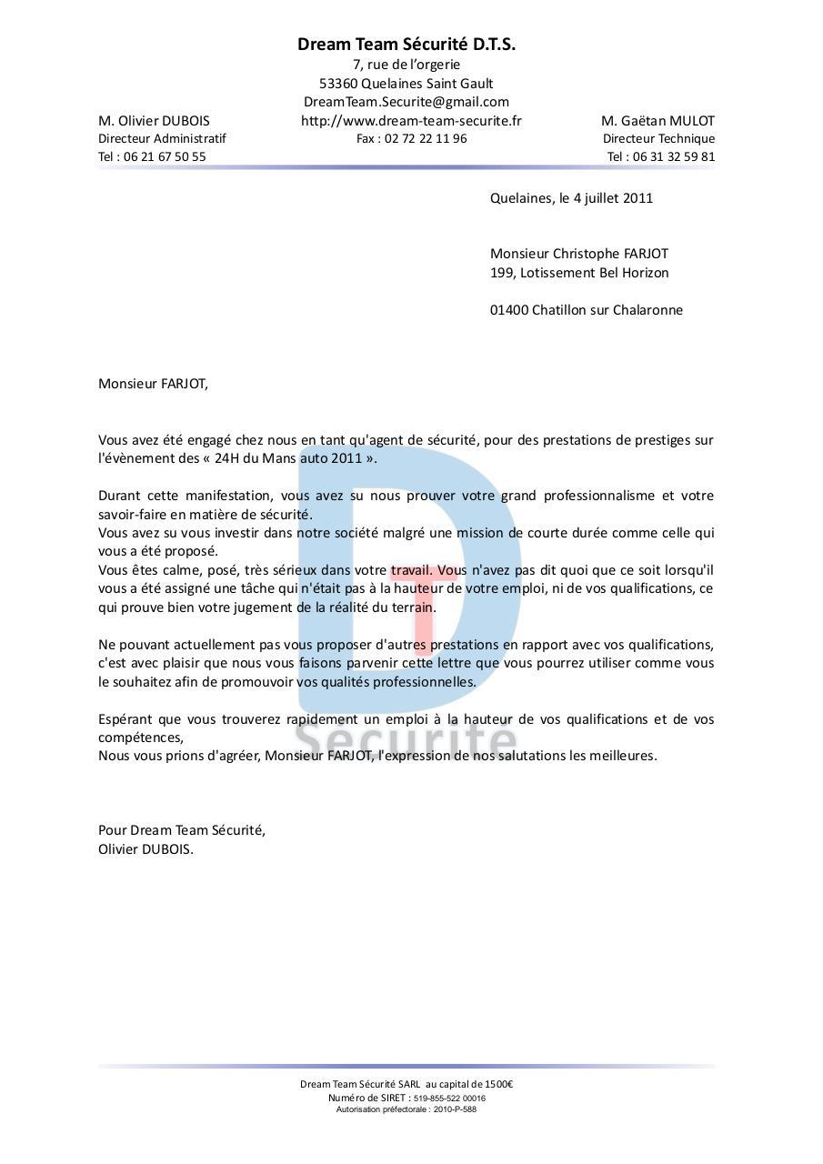 lettre de recommandation par Olivier DUBOIS   Fichier PDF