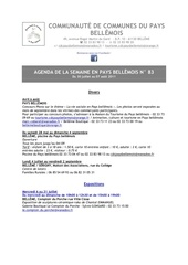 agenda de la semaine en pays bellemois n 83