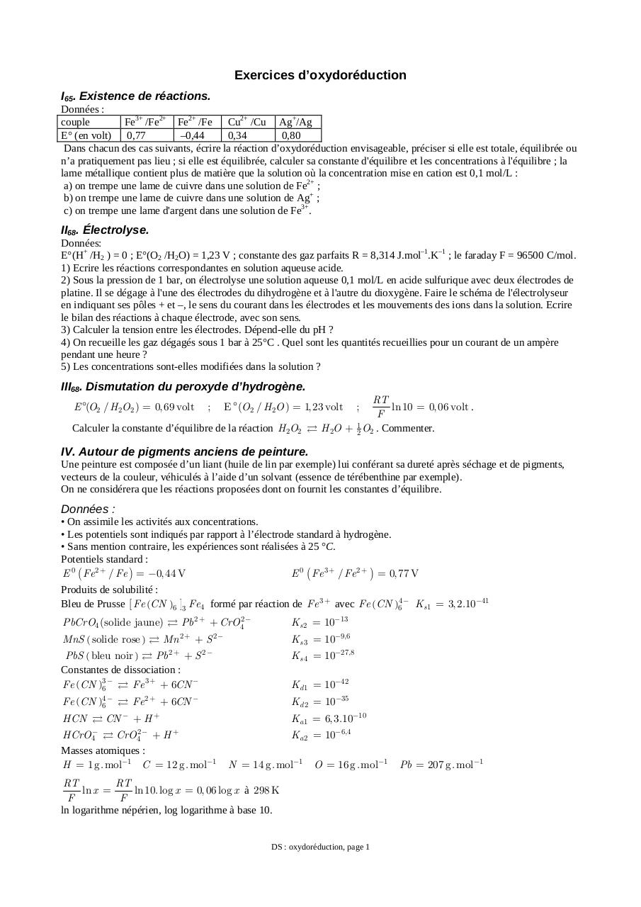 Exercices d'oxydoréduction