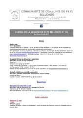 agenda de la semaine en pays bellemois n 86