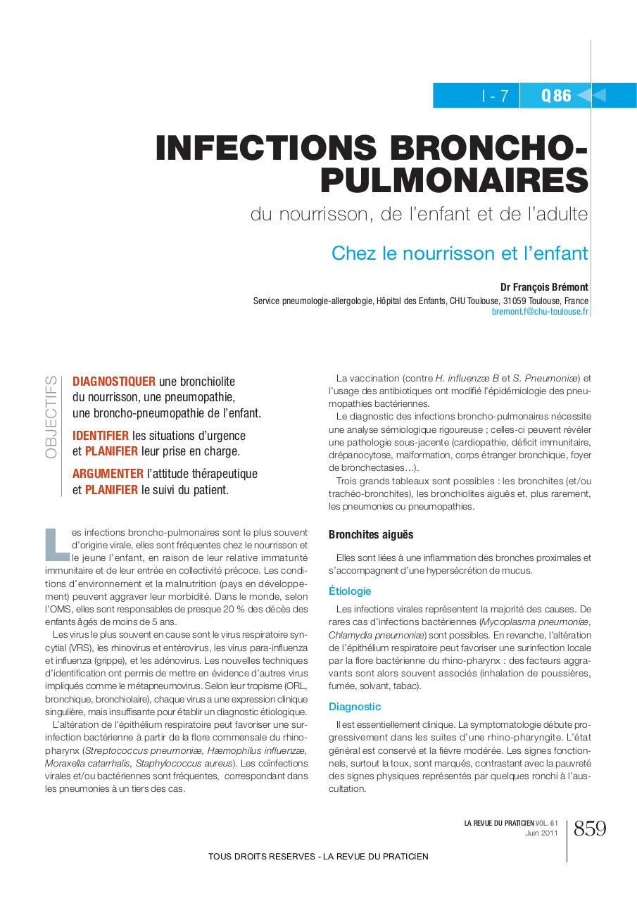 859 RDP6 ref bremont:Mise en page 1 par ccampos - Infections broncho ...