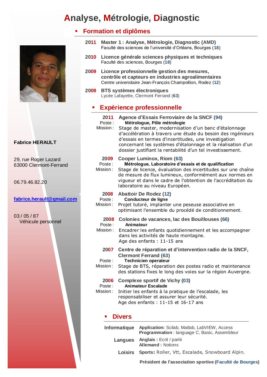 exemple cv master 1