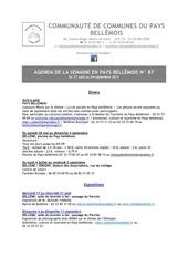 agenda de la semaine en pays bellemois n 87
