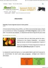 pesticides fruits et legumes les plus et moins pollues