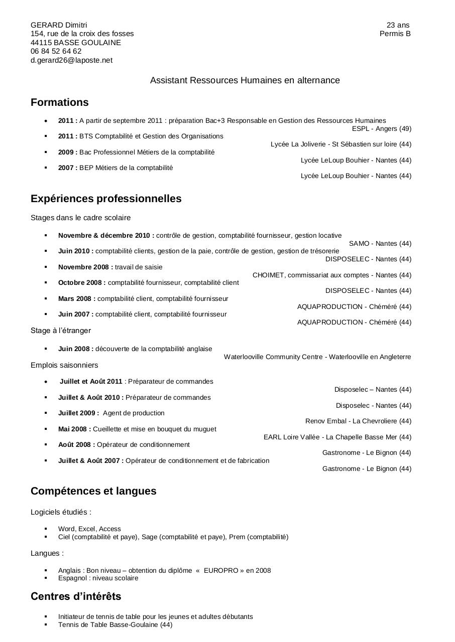 gerard dimitri par michel - cv dimitri gerard pdf