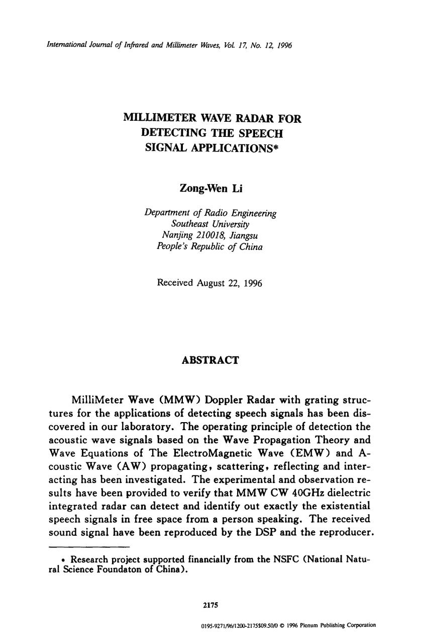Aperçu du document milimeter wave  radar for  detecting  the  speech signal applications.pdf - page 1/9