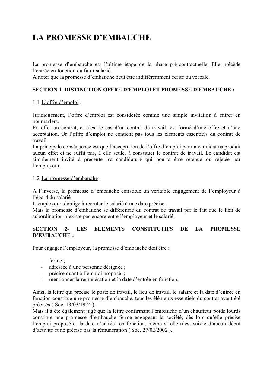 a58d5e267af LA PROMESSE D EMBAUCHE par GRENARD - PROMESSE EMBAUCHE.doc1 pdf ...