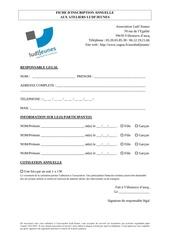 fiche inscription annuelle
