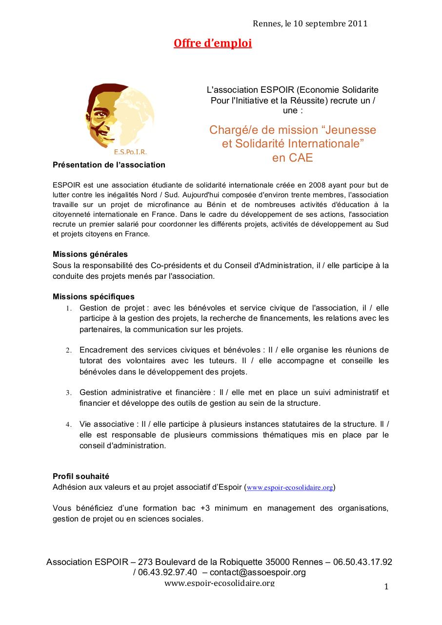 fiche de poste modifi u00e9e doc par etch kalala mabuluki - offre d u0026 39 emploi espoir pdf