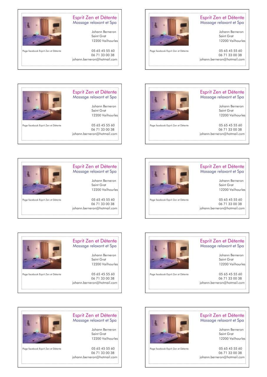 Apercu Du Document Carte De Visite Esprit Zen Et Detente Recto 2pdf