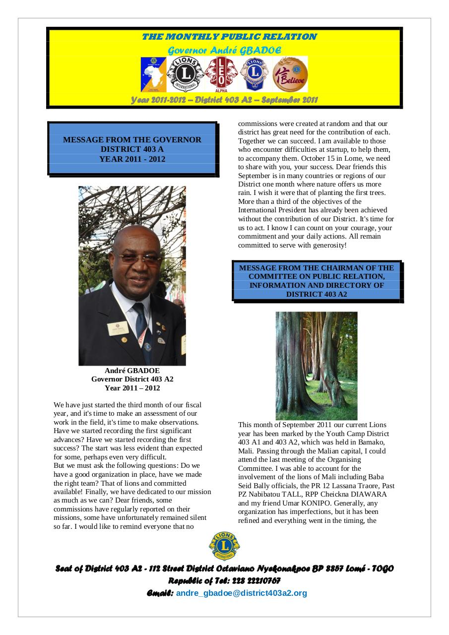 Bulletin of the Governor André GBADOE - September 2011.pdf - page 1/6