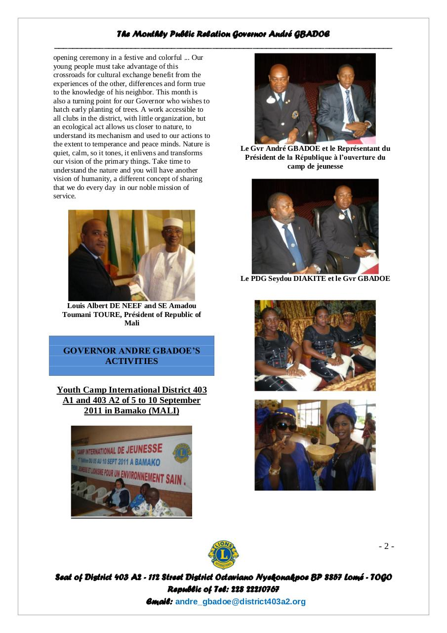 Bulletin of the Governor André GBADOE - September 2011.pdf - page 2/6