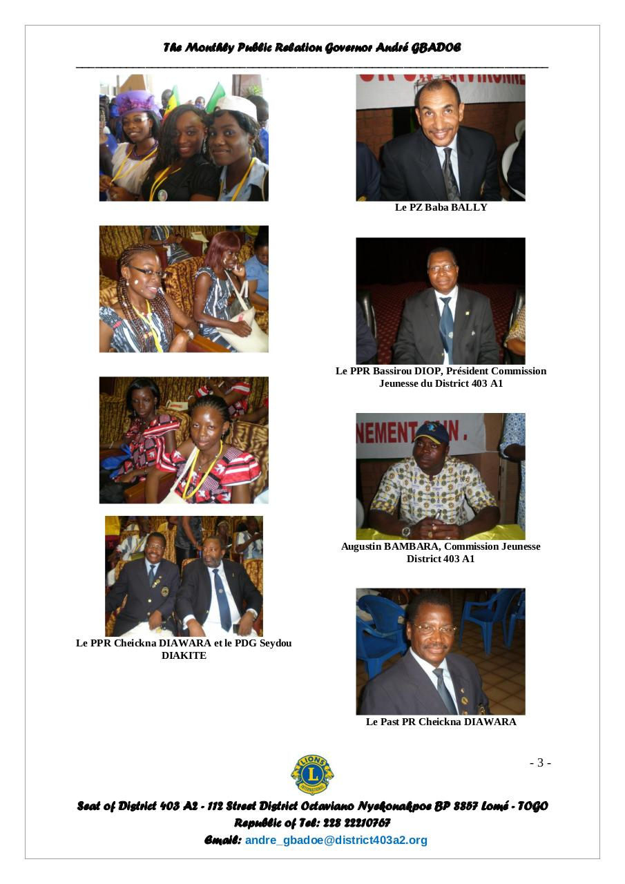 Bulletin of the Governor André GBADOE - September 2011.pdf - page 3/6