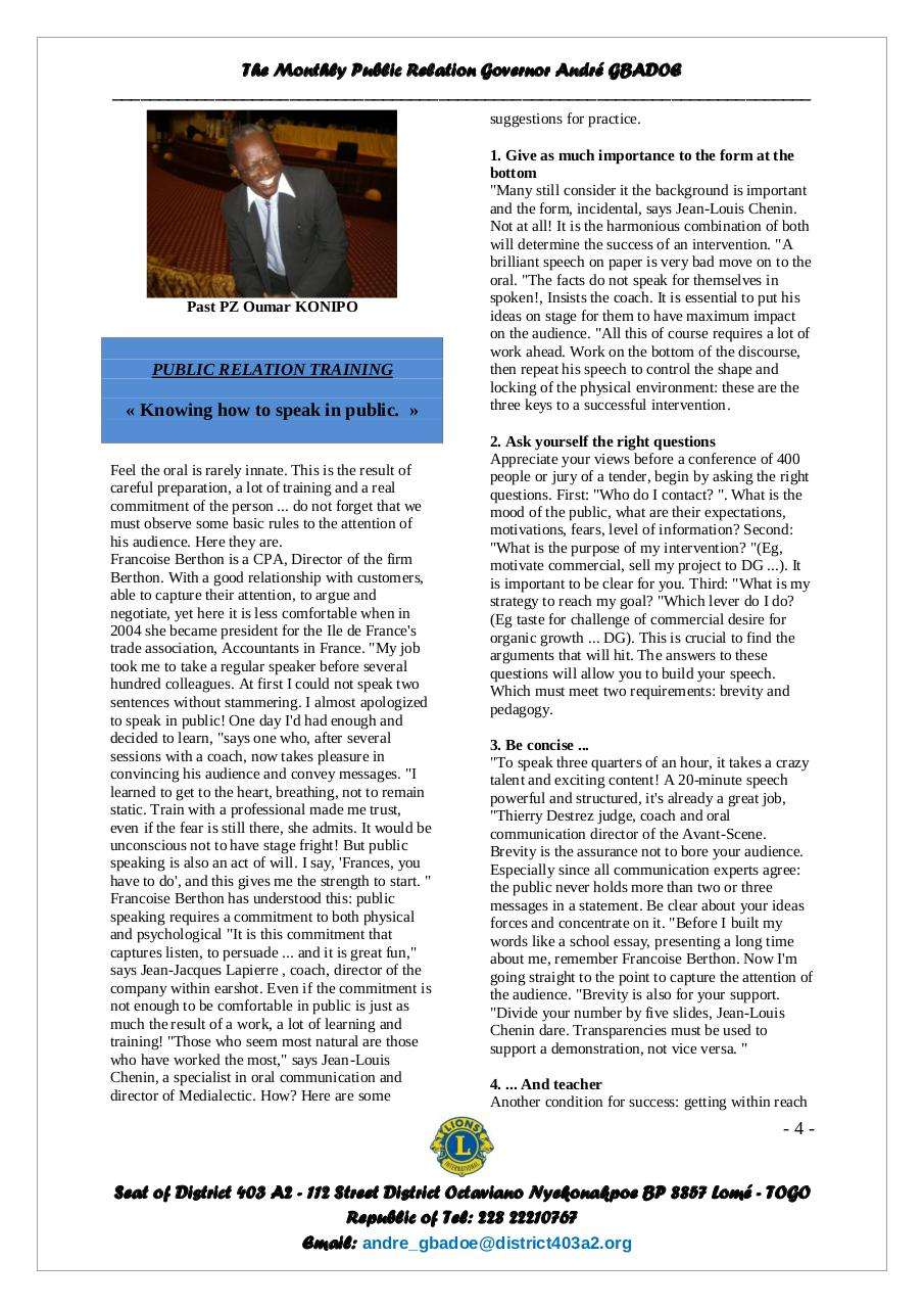 Bulletin of the Governor André GBADOE - September 2011.pdf - page 4/6