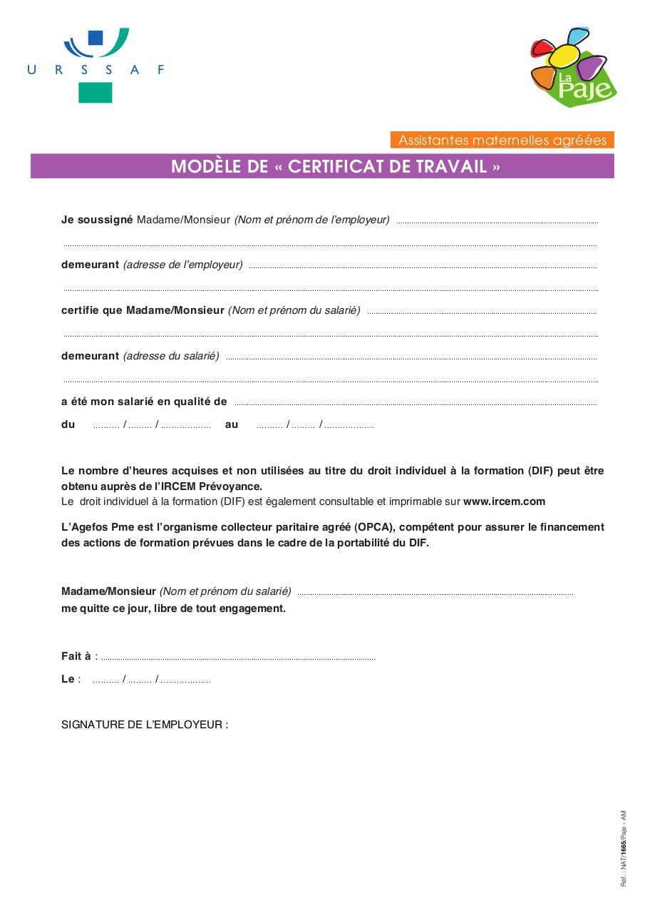 Letter Of Application: Modele De Lettre Certificat De Travail