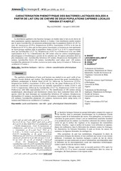 caracterisation phenotypique des bacteries 2005