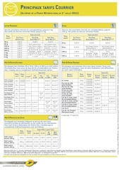 tarifs au depart de france metropolitaine a compter du 1er juillet 2011