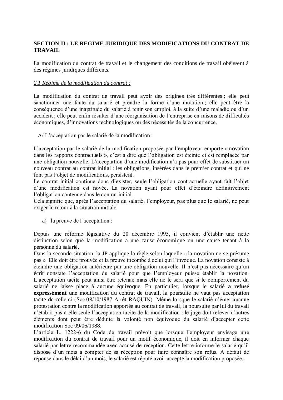 La Modification Du Contrat De Travail Par Grenard Fichier Pdf