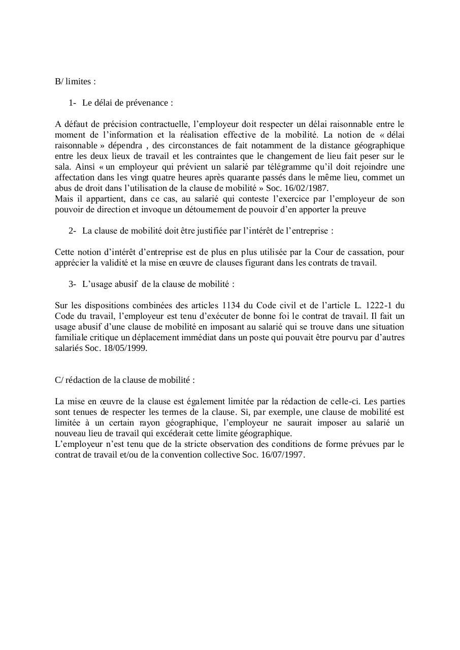 Les Clauses Du Contrat Du Travail Par Grenard Fichier Pdf