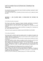 les clauses du contrat du travail