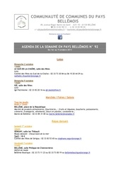 agenda de la semaine en pays bellemois n 92