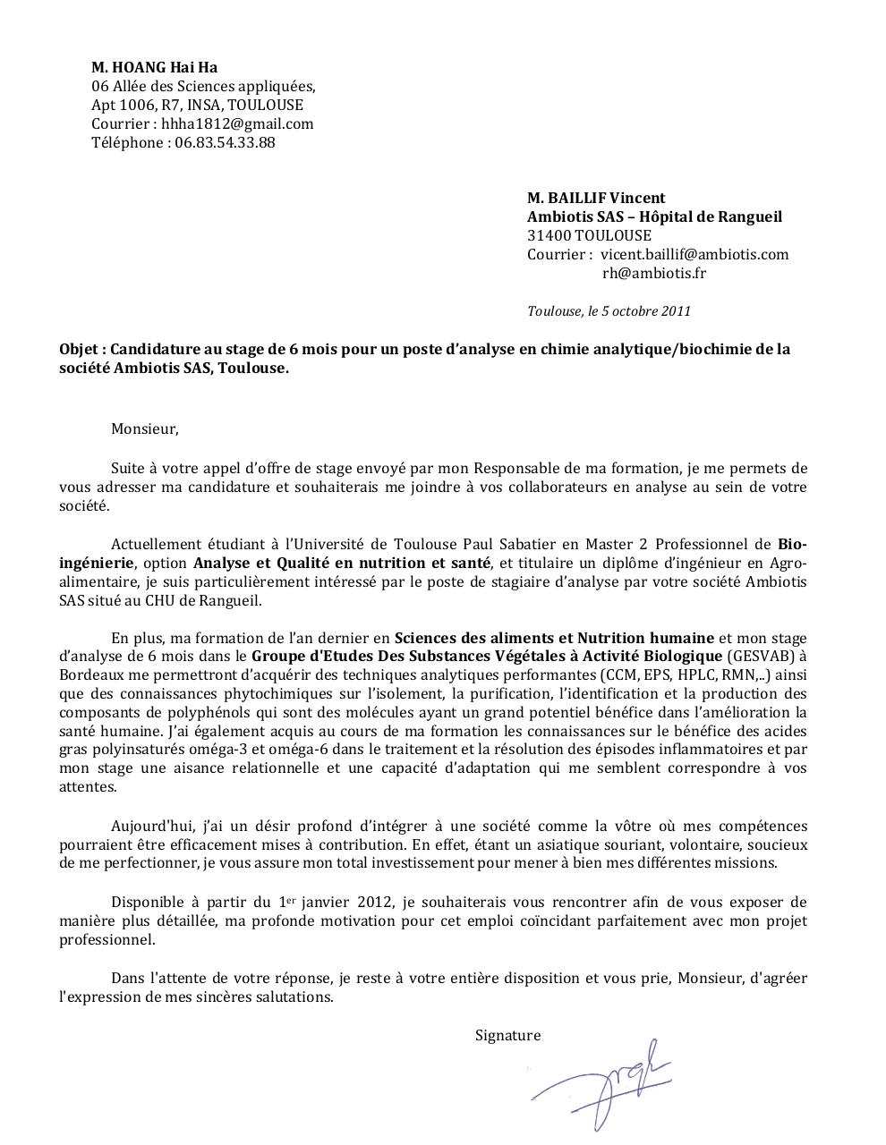 Lettre De Motivation Licence Chimie Perodua J