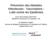 cours ifsi preventions contre les maladies infectieuse vaccination lutte contre les epidemies