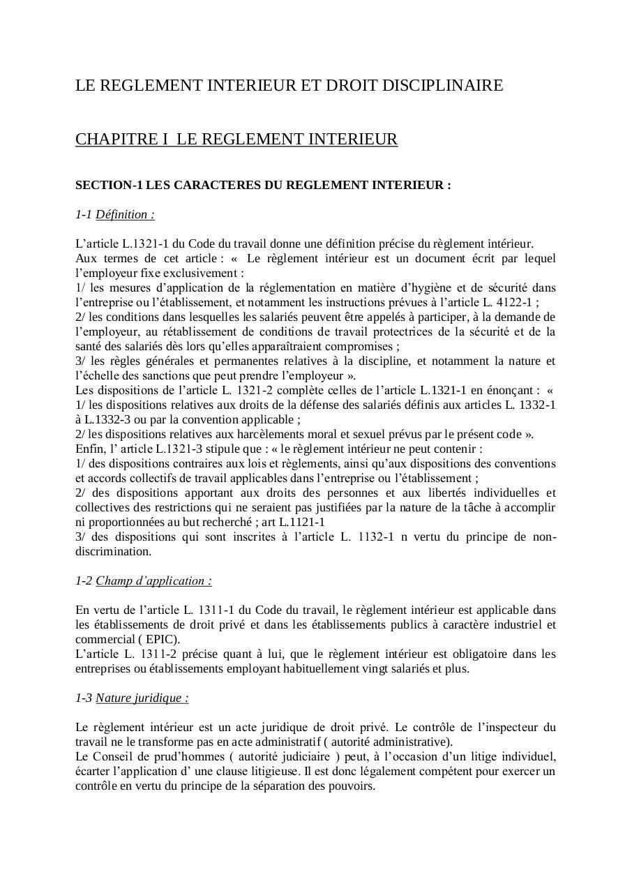 Aper u du fichier le reglement interieur et droit for Reglement interieur entreprise pdf
