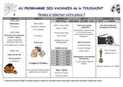 planning toussaint 2011
