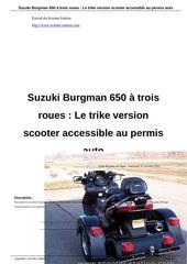 suzuki burgman 650 a trois roues le trike version