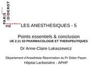 ue 2 11 s3 les anesthesiques lukaszewicz 5 points conclusion