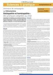 felinotechnie osteopathie homeopathie pratiques adaptees au chat