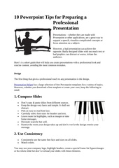 10 powerpoint tips for preparing a professional presentation