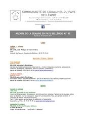 agenda de la semaine en pays bellemois n 95