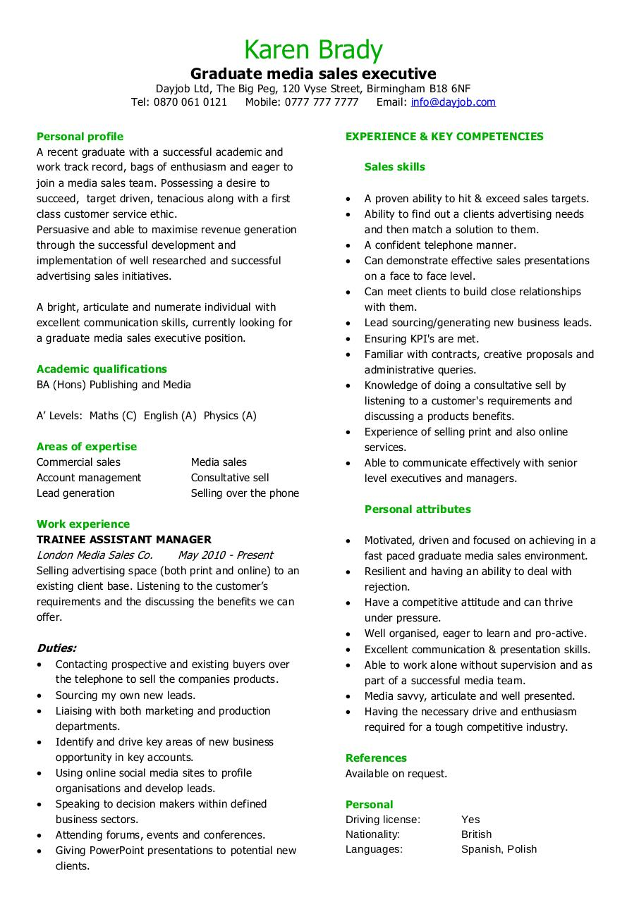 graduate media sales executive cv template par  dayjob