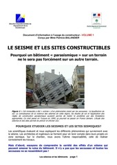 1 le seisme et les sites constructibles