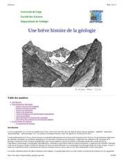 breve histoire geologie