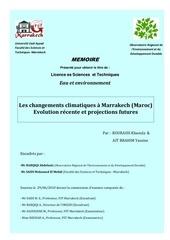 les changements climatiques a marrakech maroc evolution recente et projections futures