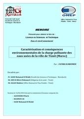 caracterisation et consequences environnementales de la charge polluante des eaux de la ville de tiznit maroc