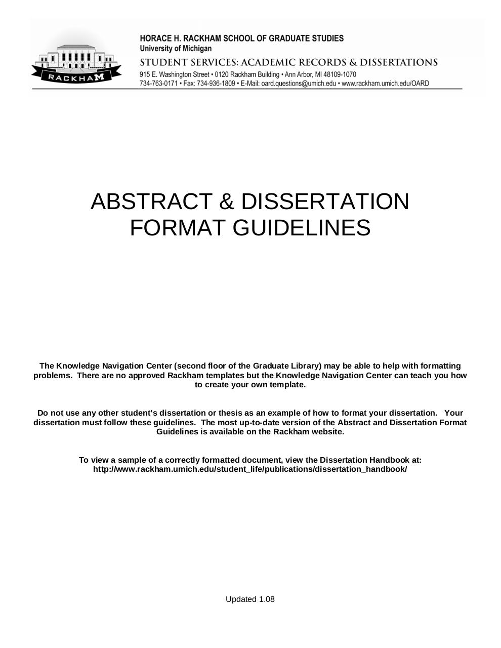 Dissertation policy