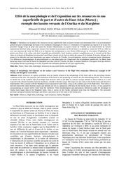effet de la morphologie et de l exposition sur les ressources en eau superficielle de part et d autre du haut atlas maroc exemple des bassins versants de l ourika et du marghene