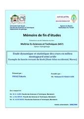 etude dynamique et statistique des crues en milieu montagnard semi aride maroc
