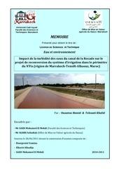 impact de la turbidite des eaux du canal de la rocade sur le projet de reconversion du systeme d irrigation dans le perimetre du n fis region de marrakech tensift alhaouz maroc