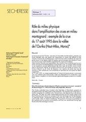 role du milieu physique dans l amplification des crues en milieu montagnard exemple de la crue d ourika
