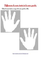 colorie la main droite en rouge et la main gauche en bleu
