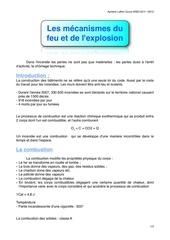 mecanisme du feu et explosion